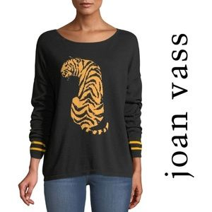 JOAN VASS Sequin-Striped Tiger-Intarsia Sweater S